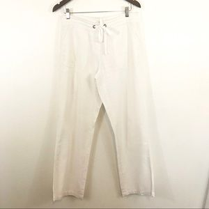 Per Se linen blend wide leg Medium pants pockets